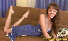 Teen brunette strips down
