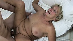 Horny young man pounds her granny bush and cums on her wrinkly face