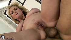 Chubby blonde Milf gets licked and blows, takes his cock in both holes