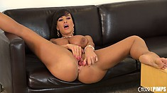 Lisa Ann rubs her clit while dildoing away at her tight pussy
