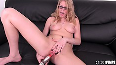 Allie uses her rabbit vibrator, shoves it in and out and licks her fingers