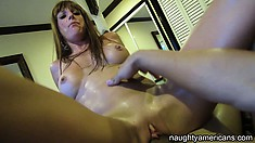 Cocksucking girlfriend rides him in a sweaty hot sex session