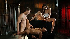 Beautiful whore is left with a soaking gusset by a mean cocksman
