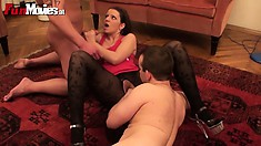 Brunette is being cast and performs on two cocks in her audition