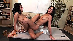 Amia Miley and Vanessa Leone toy and pussy trib while being punished