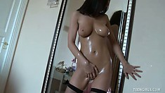 Sweet teen supermodel Tessa takes it to the limit with an oily body in a solo