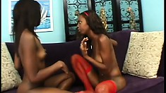 Ebony lesbians Taylor and Hydie kiss and get wet, then use a toy