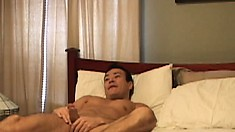 Gay guy Thomas Bjorn just got home from the office and plays with his boner