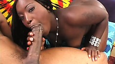 Buxom caramel babe with a marvelous booty has a black shaft drilling her wet peach