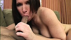 Buxom brunette mom Kendra Secrets enjoys a hard fucking and gets a nasty creampie