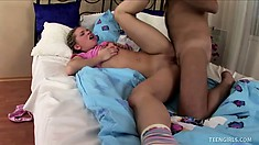 Sweet young Dora cries with pleasure while getting her pussy creamed