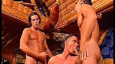 On vacation, three hot guys with muscled bodies fuck each other's asses