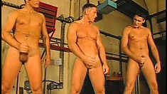 Cock-hungry mechanic gets his butt reamed in a hot gay threesome