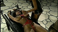 Nasty Mistress gets to torturing two of her naughty slaves with whips and tools