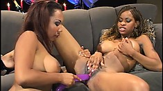 Two busty black strippers put on a wild lesbian show and a lucky guy watches it all