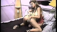 Old school tape of a pair of hot amateur lesbians getting it on