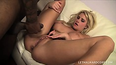 Jessica Nyx, a beautiful blonde with perfect big tits, can't resist a black cock