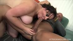 Giant brunette chub Joslyn Underwood takes his power tool in her fat twat