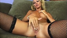 Kinky blonde cougar in fishnet stockings reveals her passion for big black cock