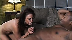 Sexy cougar gets her man and uses his big black dick to make her cum