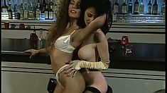 Tight-bodied lesbian enjoys rubbing her hot lover's smooth clit