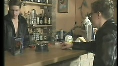 Customer stays after closing so the bartender can drill him over the stool