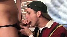 Two lustful guys enjoy to the fullest their first gay experience