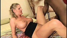 Busty blonde babe with nice curves gets a deep dicking from a BBC