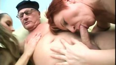 Slim young babe joins a horny mature couple for an exciting threesome