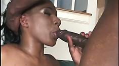 Ebony hottie Jackeline blows and fucks Byron Long's huge black prick