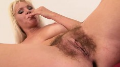 Kathy Anderson plays with a dildo before getting fucked by Thomas Lee