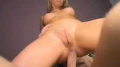 Kendra Allen spread her pussy lips with his hard cock inside her