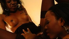 Caramel beauties Imani and Dariel get involved in wild lesbian action