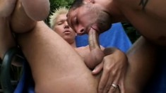 Passionate blonde guy gets his cock caressed and sucked hard