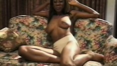 Busty black beauty shows the hot way she loves to work her clit