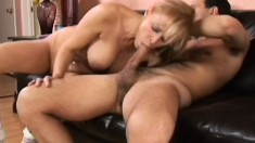 Busty blonde mom gets her pussy fucked all over the couch and loves it